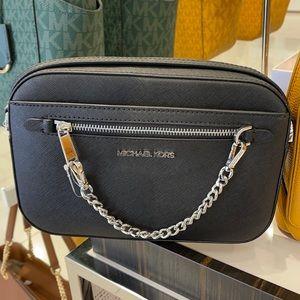 Michael Kors Jet Set Item Large East West Zip Chain Black Crossbody Bag
